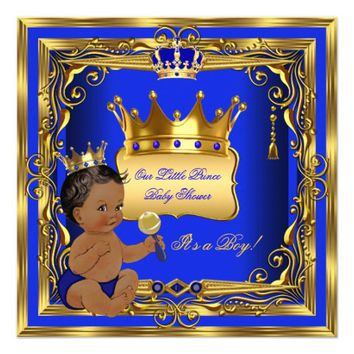 African American Prince Baby Shower Boy Blue Gold Invitation