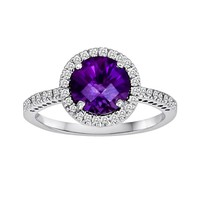 10k White Gold 1/5-ct. T.W. Diamond & Amethyst Frame Ring (Purple)