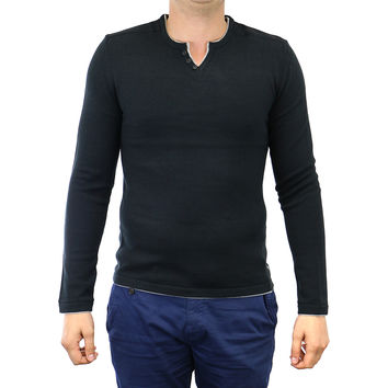 Buffalo Walleys Long Sleeve Solid Henley Sweater Pullover - Mens