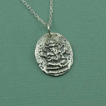 Ganesh Coin Necklace - 925 sterling silver jewelry - zen pendant