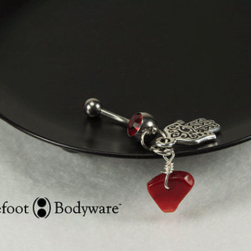 Hamsa Belly Button Ring with Red Cora Drop, navel piercing, #100-33