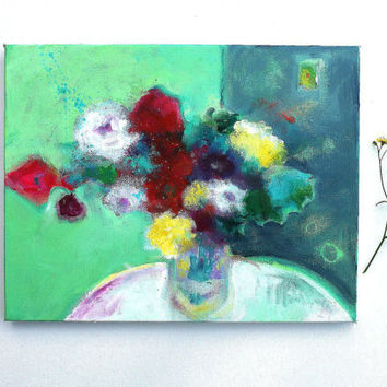 "Abstract Painting Floral Still Life ""Summer Roses in a Green Room"" 14x11 inch canvas, ready to hang #modernart #decorating #home #office"
