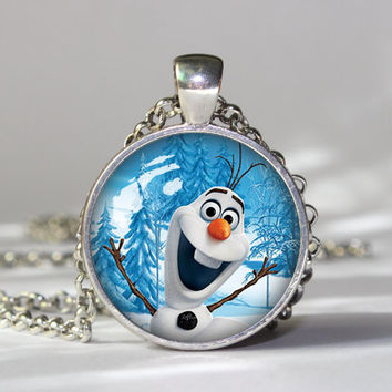 Olaf  Frozen Anna Elsa Bottlecap pendant locket Disney Princess Frozen Party  pendent necklace girlfriend boyfriend gift Bridesmaid Gift
