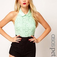 ASOS PETITE Exclusive Playsuit With Lace Shorts And Halter Neck at asos.com