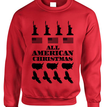Adult Crewneck American Christmas Ugly Sweater Love USA Top