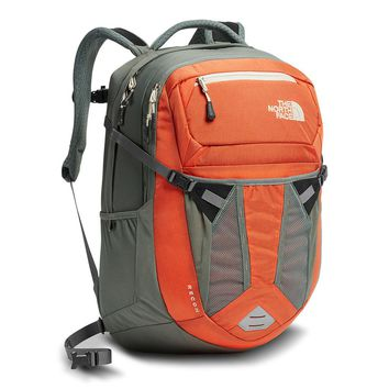 Women's Recon Backpack in Nasturtium Orange and Sedona Sage Grey by The North Face