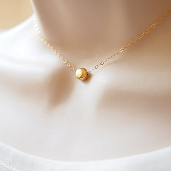 Minimalist Golden Enternity Necklace Vermeil 24k Gold Plated Choker Necklace