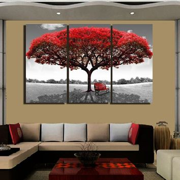 Oil Painting Picture Print Wall Decoration Decor Large Red Tree Modern Art Canvas Unframed