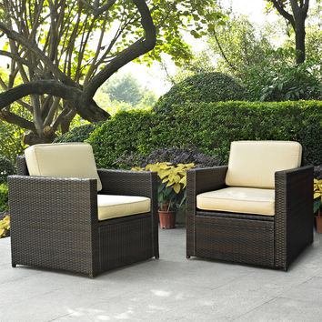 2-Piece All-Weather Outdoor Wicker Resin Arm Chair Set with Cushions