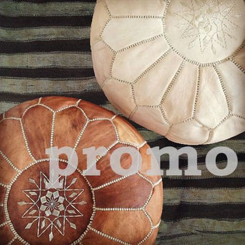 TAN & Natur BROWN Set of 2 Moroccan Leather POUFS,Ottomans,from Leather,Handmade stitching,ready to give your living room a magic touch!!!