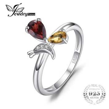JewelryPalace Butterfly 0.6ct Genuine Gemstone Garnet Citrine Ring 925 Sterling Silver Jewelry For Women Wedding Gift For Women