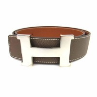 Authentic HERMES Constance H Belt Epsom leather Etoupe x GHW Used Vintage