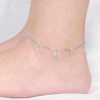 Fashion Four-leaf Clover Anklet 925 Sterling Silver