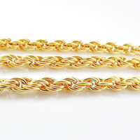 Chunky Rope Chain - 22k Matte Gold Plated - 1 Meter or 3.3 Feet