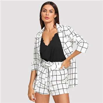 Women's Black and White Plaid Notched Blazer With Tie Waist Shorts  (Two Piece Set)