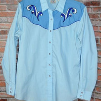 Vintage Western Shirt Sz Large BLY Country Charmers Snap Pearl Buttons