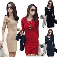 New Womens Fashion OL Long Sleeve Slim Business Bodycon Pencil Dress Sz S-XXXL = 1956579652