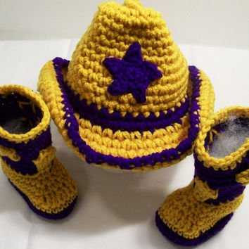 Baby Cowboy Boots and Hat-Purple and Gold LSU Colors --Baby Shower Gift- --#213