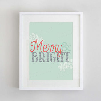 Merry & Bright Christmas Print  | Coral and Mint Christmas Printable Wall Art | 8x10 Instant Download