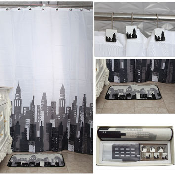 "New 14 Pcs Bathroom Shower Curtain w. Hand-painted Hooks 72x72""Crutains Rug Set"