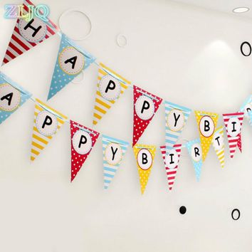 ZLJQ 3.6M Happy Birthday Triangle Flag Colorful Paper Buntings for Baby Shower Kids 1st Birthday Party Supplies 8D