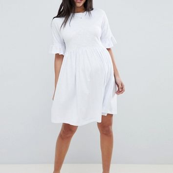 ASOS DESIGN Maternity cotton slubby frill sleeve smock dress at asos.com