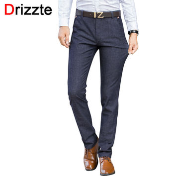 Mens Stretch Quality Worsted Sanded Casual Pants Dress Business Trousers Black Blue