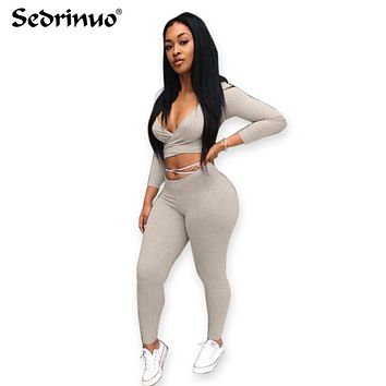 Fashion two pieces deep v-neck gray bandage jumpsuit club night wear Rompers Women bodycon jumpsuit bandage Bodysuit
