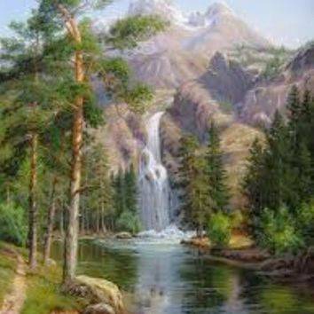 landscape DIY oil paint painting by numbers diy picture waterfall drawing on canvas oil painting by hand coloring