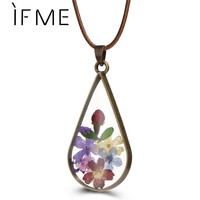 IF ME Pressed Flower Teardrop Pendant Necklaces for Women Female Jewlery Dry Dried Flower Glass Necklaces with Rope Chain Gift