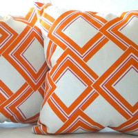 Orange Lattice pillow cover - Decorative pillow cover - Orange- Fuschia -geometric - 18 x 18 throw pillow