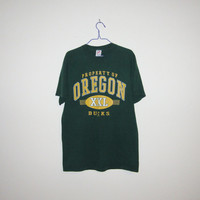 Vintage 80's OREGON DUCKS Nike Era College Football Athletic T-Shirt - Size Medium to Large