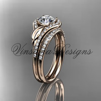 14kt rose gold diamond leaf and vine wedding, engagement ring set ADLR334S
