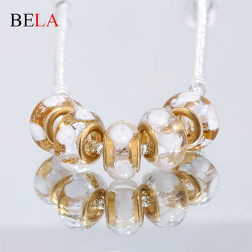5PC Milk White Transparent Painting Series 925 Silver Glass Bead Fit European Bracelet&Necklace Pendant For Woman Jewelry PS3415