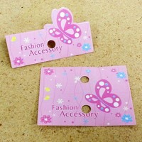 PG-101 Pink Butterfly Fashion Accessory Jewelry Hanging Tags - Pack of 100