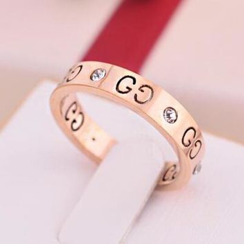 GUCCI Trending Women Men Logo Hollow Geometric Pattern Diamond Ring Titanium Steel Tail Ring Joint Ring 3-Color Rose Gold