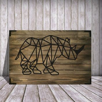Rhino Wooden Wall Art