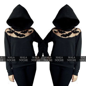 Black hoodie- Hoodie  Bats- oversize hood - goth hoodie- black tull- Sudadera con capucha- embroidered sweater