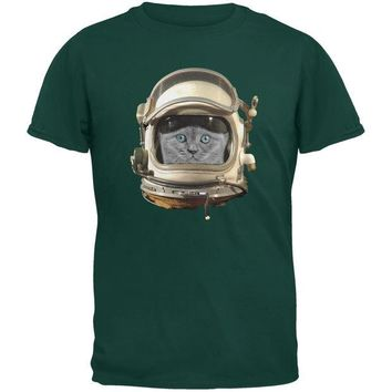 DCCKJY1 Astronaut Cat Dark Green Youth T-Shirt
