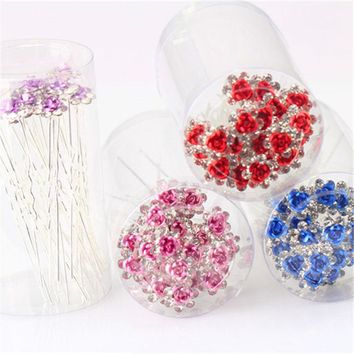 Wedding Hairpin 20pcs Crystal Rose Hairgrip Bridal Rhinestone Clip Solid Party Flower Women Barrette Jewelry Hair Accessories