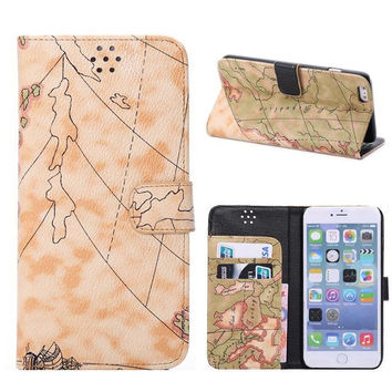 Khaki World Map Leather Wallet iPhone creative cases for 5S 6 6S Plus Free Shipping