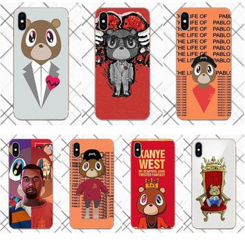 Tpwxnx Fashion Kanye West Graduation Teddy Bear Soft Cases Fundas For Apple iPhone X 4 4S 5 5C 5S SE 6 6S 7 8 Plus