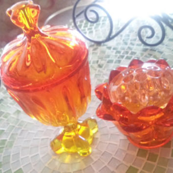 Rare Viking Glass Candy Dish and Artichoke Flower Frog Holder.