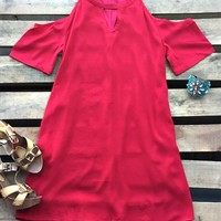 dress with cold shoulder and pockets