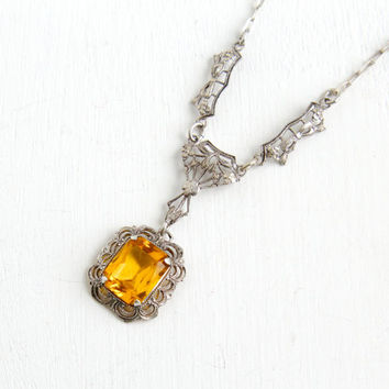 Antique Art Deco Sterling Silver Yellow Citrine Lavaliere Necklace- Vintage 1920s Filigree Floral Bow Pendant Jewelry