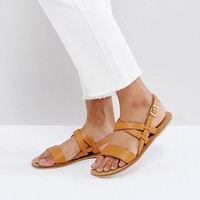 ASOS FINALLY Leather Flat Sandals at asos.com
