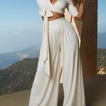 New White Lace-up Elbow Sleeve V-neck Two Piece High Waisted Long Fashion Jumpsuit Pants