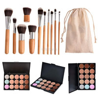 Professional 15 Colors Contour Face Cream Makeup Concealer Palette and 11pcs Brushes Set = 5617678081