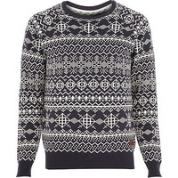 River Island MensNavy Only & Sons print knitted sweater