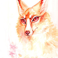 Elegant Flower Fox Spring Watercolor Painting